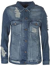 Firetrap Womens Blackseal Distressed Denim Jacket Coat Top Long Sleeve Cotton