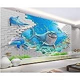 MSyikU Seidenwandbild 3D Wallpaper Benutzerdefinierte Wandbild 3D-Raum Wallpaper Die Unterwasserwelt Hai 3D-Malerei Wandbilder Foto 3D Wandbild Tapete,250cm*200cm