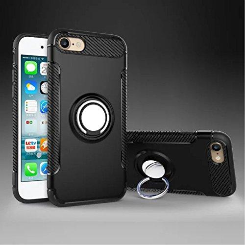 YHUISEN iPhone 6 Plus / 6S Plus Case, Rüstung Dual Layer 2 in 1 Heavy Duty Shockproof Schutzhülle mit 360 Grad drehenden Finger Ring Halter und Magnet Car Halter Case für iPhone 6 Plus / 6S Plus ( Col Black
