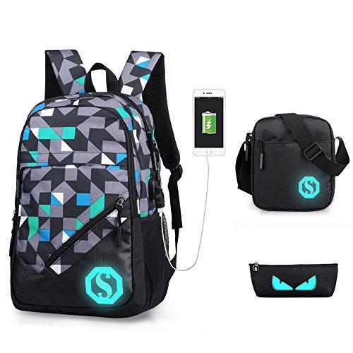 Rucksack USB wiederaufladbare Schulrucksack Set Oxford Tuch Laptop Tasche Rucksack Daypacks Backpack Schulrucksäcke Umhängetasche Federmäppche für Mädchen Jungen & Kinder Jugendliche Damen Herren