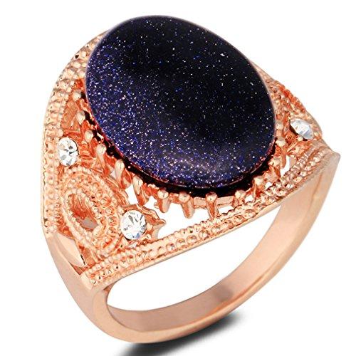 Yazilind Oval Cut Blau Imitation Jade Rose Gold Plated 18.1 Ring für Frauen (Gold-plated Jade Und Diamant-ring)