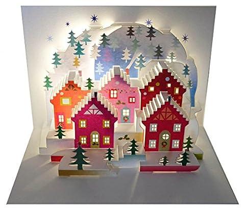 WE Pop Up 3D Karte Weihnachten Advent Grußkarte Weihnachtsstadt mit Tannen 16x11cm (Englisch Wünsche Für Weihnachten)