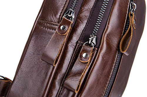 Imagen de bolso  de pecho, bullcaptain bolso  de pecho piel cuero para hombres con cuero compuesto para diario o trabajo alternativa