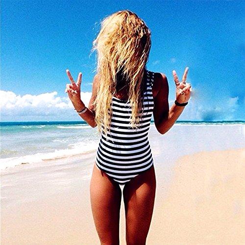 Damen Badeanzüge Bademode One piece Bikini S bis XXL ---CROSS1946 Schwarz / Weiß