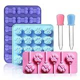 BlueDream 3er Pack Silikon Kuchen EIS Keks Hundeknochen Katze Klaue Formen Tabletts mit 2 Dropper für süßes Gelee Praline Gelatine Seifenform
