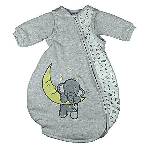 Jacky 321704 Baby Unisex Schlafsack mit abnehmbaren Ärmeln, wattiert, Elephant, Alter 6-12 Monate, Größe 74/80, grau
