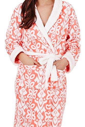 Loungeable, Femmes Luxe Molleton Super Doux Salon Robe De Lingerie De Nuit, Multiple Motifs, Styles Coral Classic