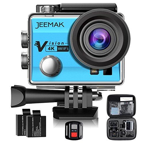 Galleria fotografica JEEMAK 4K Action Cam 16MP Action Camera WIFI Sport Action Camera Videocamera Impermeabile 170° Grandangolare con Telecomando 2.4G + 2 Batterie + Kit Accessori + Pacchetto Portatile (Blu)