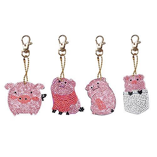 Dreamitpossible 4pcs/Set DIY Diamond Painting Cartoon Pig Resin Bag Keychain Jewelry Gift -