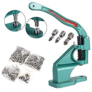 Hand Press Heavy Duty Grommet Machine with 3 Dies (#0#2#4) and 1500 Pcs Grommets Eyelet Tool Kit