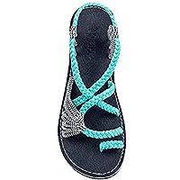 Sandalias Mujer Romanas Chanclas Verano Moda de Damas Peep-Toe Bajos Sandalias Casuales Zapatos de Playa