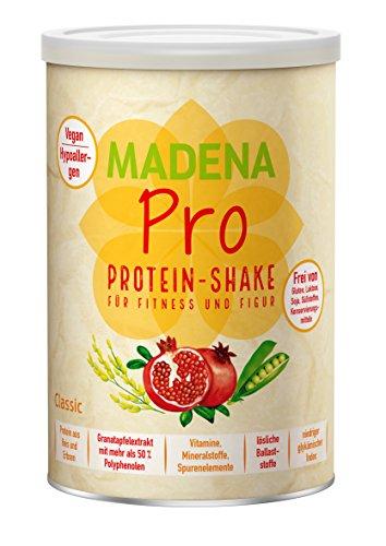 MADENA PRO Classic - veganer Protein Shake für Fitness und Figur | über 20 % BCAA | Diät-Shake| lactosefrei und glutenfrei | Reisprotein + Erbsenprotein + Granatapfelextrakt mit mehr als 50% Polyphenolen + Vitamine, Mineralstoffe, Spurenelemente + Ballaststoffreich | ohne Süßstoffe | ohne Aromen | Deutsche Premium Qualität