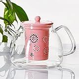 TAMUME 1000ml Théière en Verre avec Crépine en Porcelaine (Pink)