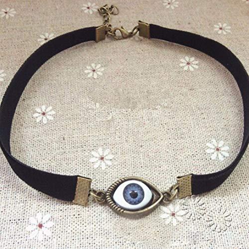 Zorux - Harajuku Chokers Halsketten für Frauen aus schwarzem Samt, Vintage-Stil, Dämonenauge, Gothic-Schmuck