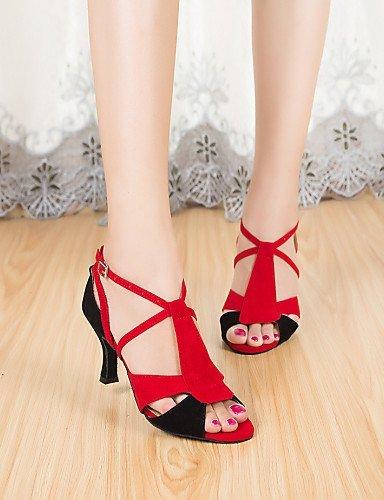 ShangYi Chaussures de danse ( Autre ) - Non Personnalisables - Talon Bobine - Flocage - Latine Red