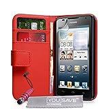 Yousave Accessories Custodia Per Huawei Ascend Y530 Rosso in Pelle PU Portafoglio Con Mini Stilo Penna