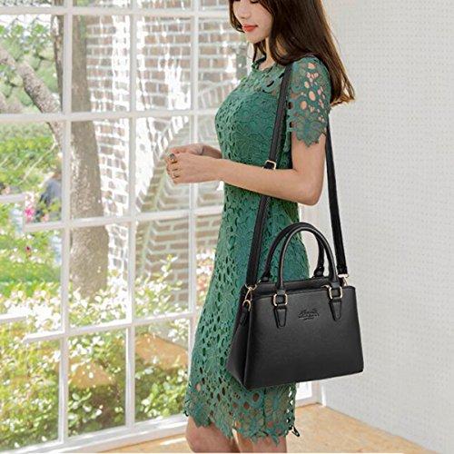 WU ZHI Damen PU Handtasche Wild Schultertasche Messenger Bag Soft Leder Große Kapazität Multifunktion Black