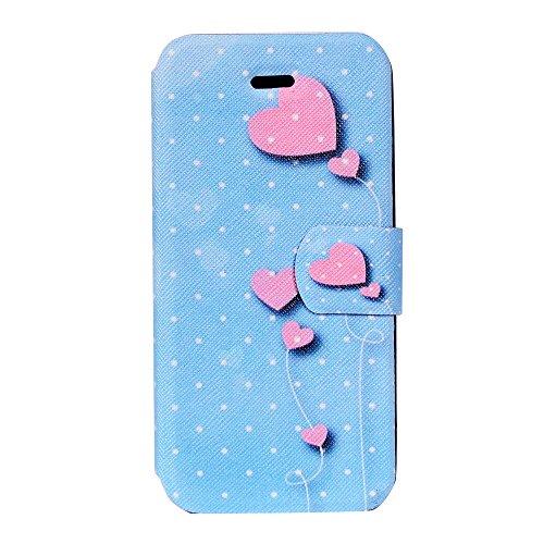 Cover iPhone 7 Plus, CaseLover iPhone 7 Plus 5.5 Custodia Pelle 3D Magnetico Protettiva Stampata Portafoglio con Sottile Silicone Morbido Case Cinturino Card Slot Antigraffio Flip PU Supporto Funzion Amore cuore