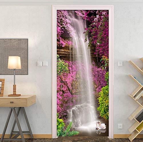 huafan Waterfall Swan Pink Flower 3D Door Sticker PVC Self-Adhesive Waterproof Door Mural Wallpaper Wall Decals Home Decor Living Room Pink Swan