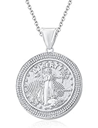 "Silvernshine 1.35 Ct Round D/VVS1 Diamond Liberty Coin Pendant 18"" Chain In 14K White Gold Fn"