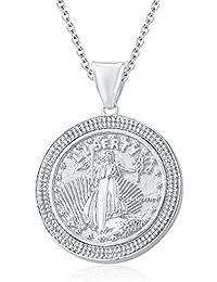 "Silvernshine 1.35 Ct Round D/VVS1 Diamond Liberty Coin Pendant 18"" Chain In 14K White Gold Fn"