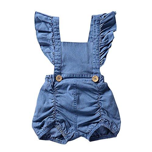 Sunenjoy Combinaison Jumpsuit Bébé Filles Denim Barboteuse sans Manches Volants Bodys Shorts Salopette Bretelles Dos Nu Tenues D'été Vêtements (0-6 Mois, Bleu)