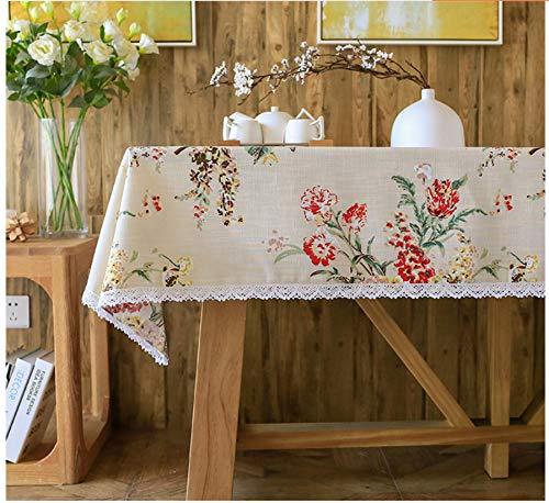 HOUZII Bauernhaus Stil Tischdecken Baumwolle Leinen Spitze Tischdecke Rechteckige Rote Blumen Drucken Tischdecke Natürlichen Einfachen Stil Mehrzweck Indoor Und Outdoor 130x160cm -