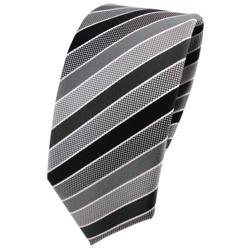 TigerTie Schmale Designer Krawatte anthrazit schwarz grau silber gestreift - Tie