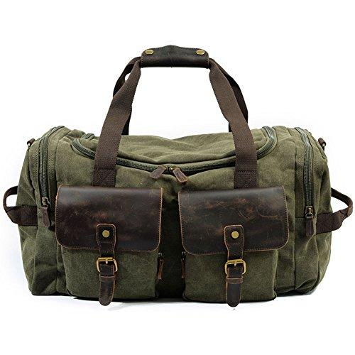 DCRYWRX Herren Wochenende Tasche, Extra Große Leinwand Reisetasche Tote Bag Trunk Schultertasche, Tragetasche Tragen,Green
