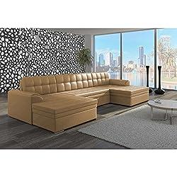 JUSThome Vento Sofá esquinero chaise longue Sofá de esquina función de cama Sofá-cama Piel sintética (BxLxH): 165x365x81 cm Beige