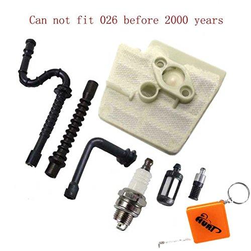 Preisvergleich Produktbild HURI Luftfilter und Zündkerze Benzin / Öl Schlauch Filter für Stihl 026 MS240 MS260 & Neuere Modelle 024