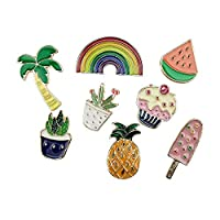 8PCS Cute Cartoon Enamel Brooch Lapel Pins Summer Plant Fruits Foods Badges for Clothes Bags Backpacks Hat Décor