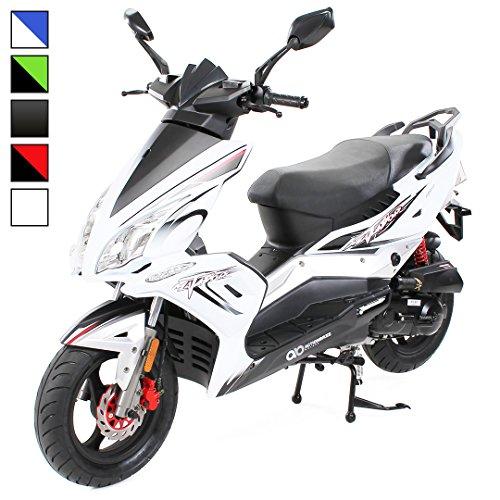 Matador Scooter JJ-50 ccm EURO 4 Roller/Mofa 2,5KW Sport Roller Motorroller 25 km/h 50cc wahlweise Mofa, Roller 25km/h / 45km/h zwei Sitzplätze (Geschwindigkeit: 45km/h - Farbe: Weiß)