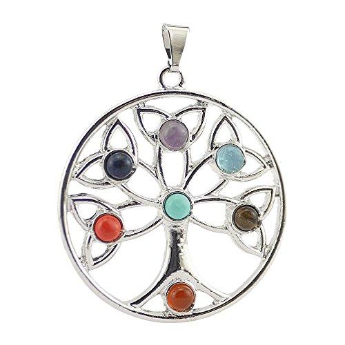 Contever® Colgante 7 Gemstone Beads Chakra Colgante Pendant Regalo Unisex - Árbol de La VidaAlas del Angel del