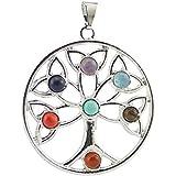 Contever® Colgante 7 Gemstone Beads Chakra Colgante Pendant Regalo Unisex - Árbol de La VidaAlas del Angel del Estilo