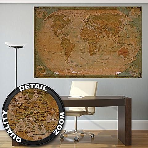 Historische Weltkarte Poster XXL - Wandbild Dekoration Globus antik vintage world map used Atlas Landkarte old school | Wandposter Fotoposter Wanddeko Bild Wandgestaltung by GREAT ART (140 x 100