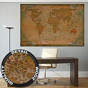 GREAT ART XXL Póster – Mapa Histórico del Mundo – Mural Globo Vintage Antiguo Mapa del Mundo Usado Mirar Atlas Mapa Decoración De Cartel De Pared De La Vieja Escuela (140 X 100 Cm)