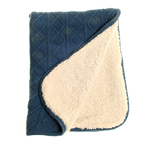 Zippy Baby Luxury Sherpa Fleece Blanket With Blue Cotton Cable Knit For  Nursery Cot And Pram