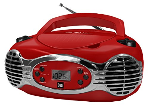Dual P 30 Rot Portable Boombox (UKW-Radio, CD-Player MP3 Kassettenabspieler, AUX-In Audioeingang, USB-Anschluss, Kopfhöreranschluss) rot