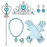 Wuree Prinzessin ELSA Dress Up Party Zubehör Handschuhe, Tiara, Zauberstab und Halskette, Prinzessin Sceptre, Lake Blue, 6 Stück