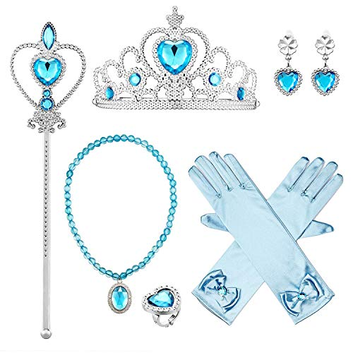 Up Dress Kostüm Frozen - Wuree Prinzessin ELSA Dress Up Party Zubehör Handschuhe, Tiara, Zauberstab und Halskette, Prinzessin Sceptre, Lake Blue, 6 Stück