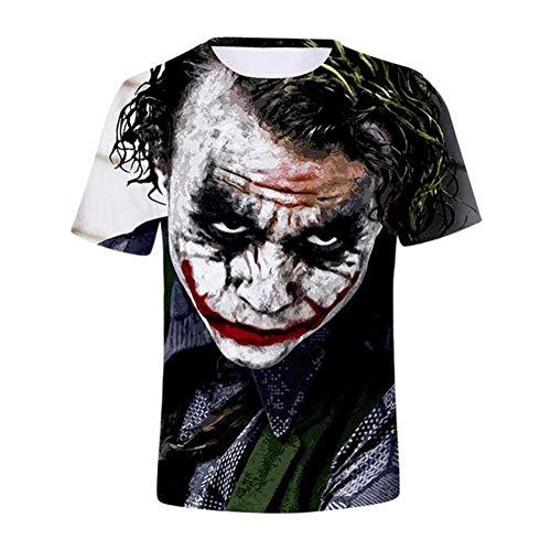 Fairy jj Mode 3D T-Shirt Druck Kurzarm Muster Joker Teufel Clown Rundhals Kurzarm T-Shirt Sommer Männe - Clown Drucken