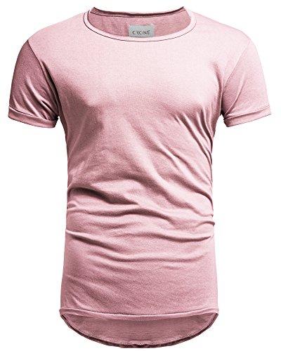 Crone Herren Kurzarm Rundhals Basic Oversize Slim Fit T-Shirt in vielen Farben (XXL, Hellrosa) -