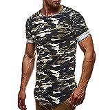 VEMOW Sommer Neue Design Mode Persönlichkeit Camouflage Männer Tägliche Arbeit Casual Slim Kurzarm-Shirt Top Bluse Pullover für Vatertag Geschenk(Grün, EU-54/CN-L)