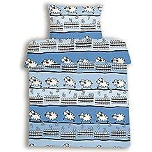 beties Schäfchen zählen Kinderbettwäsche ca. 135x200 + 80x80 cm weiche Biber-Qualität 100% Baumwolle Farbe Himmelblau 1 Set