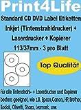 150 CD - DVD Labels - Etiketten - Aufkleber, selbstklebend; Hochweiß;113/37; Standard-Qualität
