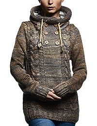 927e3865538e LEIF NELSON Dames Pullover Hoodie Pull à Capuche Pull en Tricot Veste  Manche Longue Sweat Sweater