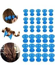 30 Stück Silikon Lockenwickler, Beautyshow Silikon keine Hitze Haar Lockenwickler DIY Hair Styling Tools keine Klipp Haar Curler Lockenwickler Roller -Blau