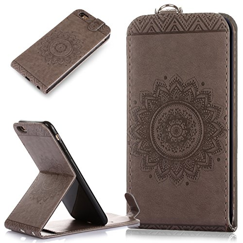 Custodia iPhone 6S Plus / 6 Plus, iPhone 6S Plus / 6 Plus Cover, ikasus® iPhone 6S Plus / 6 Plus Custodia Cover [PU Leather] [Shock-Absorption] Protettiva Portafoglio Cover Custodia sole indiano Datur Grigio