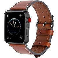 Fullmosa 8 Couleurs Compatible Bracelet Apple Watch 42mm 44mm(Serie4) Cuir, Wax pour Bracelet Apple Watch/iWatch Serie 3 2 1, Brun foncé+Boucle Grise fumé,42/44mm